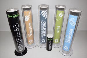 Gamme de collecteur pour l'environnement -jeantet - harlor plastic collecteur piles usagées -portable-mobile-bouchons plastique et liège